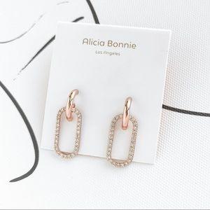 Alicia Bonnie Eva Pave rose gold dangle earrings